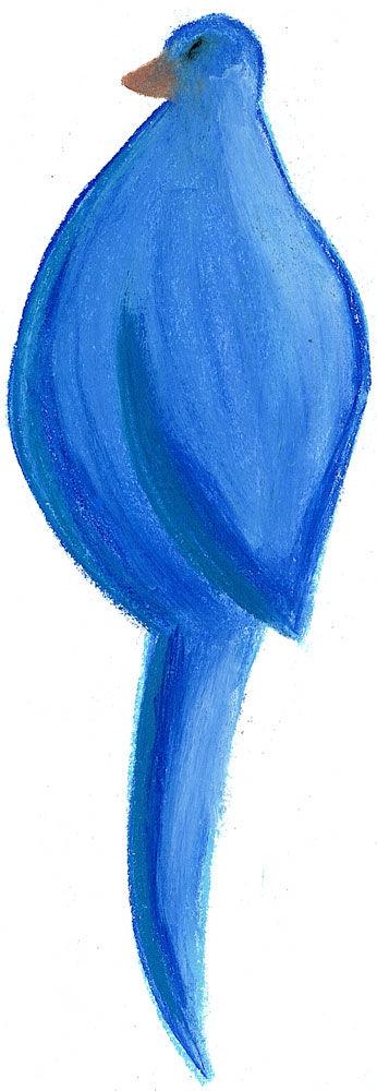 Oiseau bleu au pastel 1